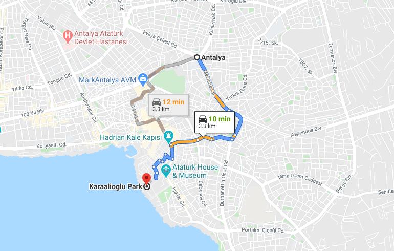 Cómo llegar a Karaalioglu Park, Turquía, desde Antalya