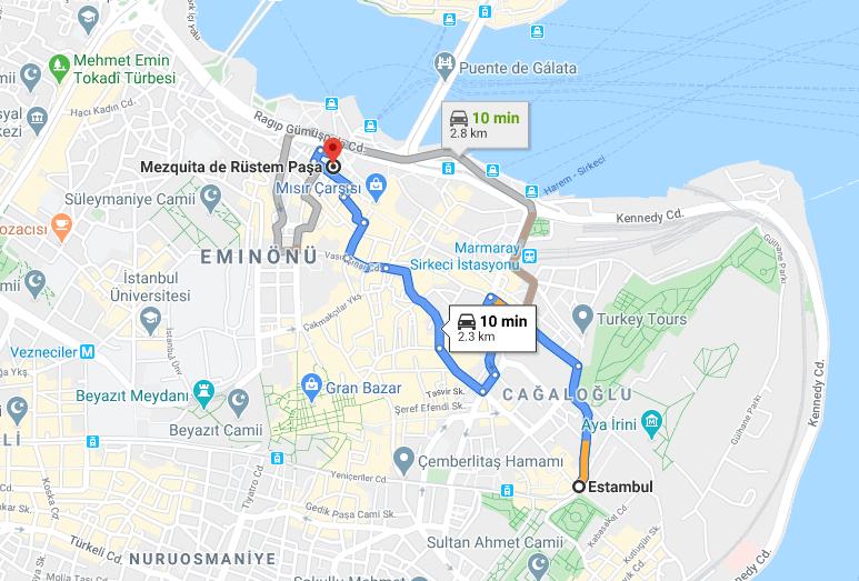 Cómo llegar a Mezquita de Rüstem Paşa, Turquía, desde Estambul