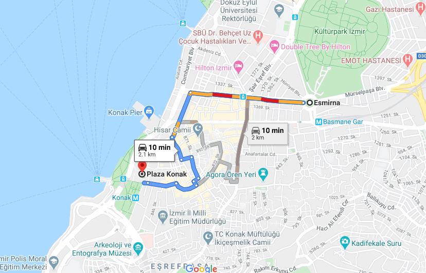 Cómo llegar la plaza de Konak,Turquía, desde la provincia de Esmirna